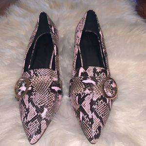 ASOS Salma Pink and Black Pointed Loafers